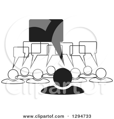 Clipart of a Group of Black and White People with Speech Balloons - Royalty Free Vector Illustration by ColorMagic