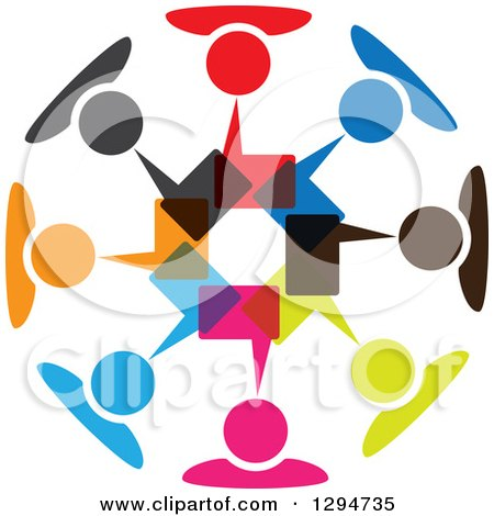 Clipart of a Unity Team Circle of Colorful People Talking with Speech Balloons - Royalty Free Vector Illustration by ColorMagic