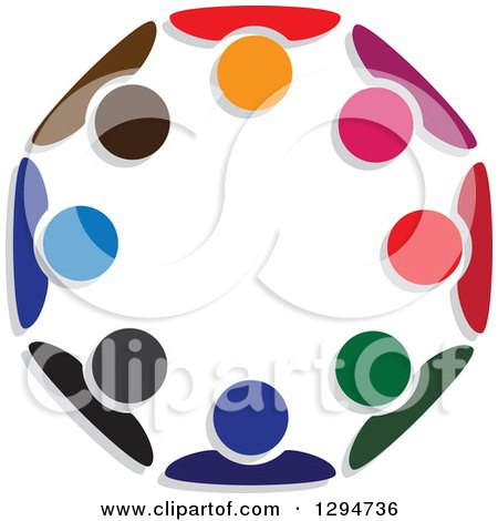 Clipart of a Unity Team Circle of Colorful People Huddled - Royalty Free Vector Illustration by ColorMagic