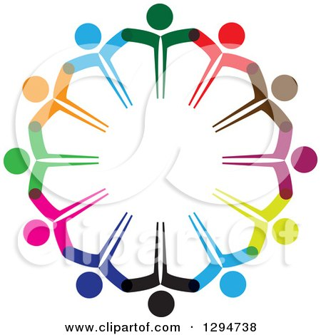 Clipart of a Unity Team Circle of Colorful People Holding Hands - Royalty Free Vector Illustration by ColorMagic