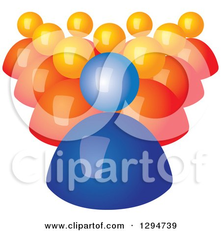 Clipart of a Group of 3d Orange Followers Behind a Blue Leader - Royalty Free Vector Illustration by ColorMagic