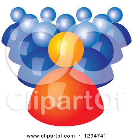 Clipart of a Group of 3d Blue Followers Behind an Orange Leader - Royalty Free Vector Illustration by ColorMagic