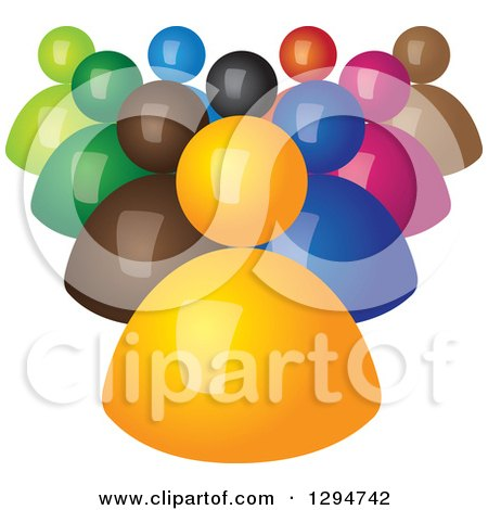 Clipart of a Group of 3d Colorful Followers Behind an Orange Leader - Royalty Free Vector Illustration by ColorMagic