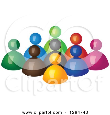 Clipart of a Group of 3d Colorful People Behind an Orange Leader - Royalty Free Vector Illustration by ColorMagic