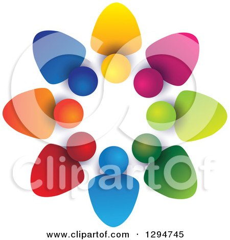 Clipart of a Unity Team Circle of Colorful Abstract People, with Shading on White - Royalty Free Vector Illustration by ColorMagic
