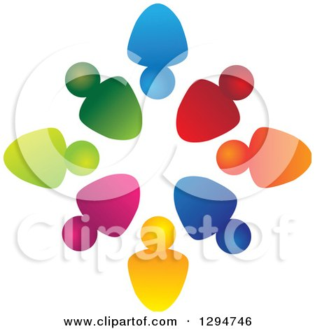 Clipart of a Unity Team Circle of Colorful People, Some with Their Heads In, Some out - Royalty Free Vector Illustration by ColorMagic