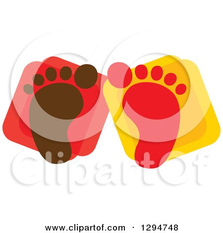 Clipart of Brown and Red Baby Footprints over Squares - Royalty Free Vector Illustration by ColorMagic