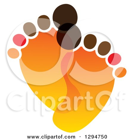 Clipart of a Pair of Orange and Brown Baby Footprints - Royalty Free Vector Illustration by ColorMagic