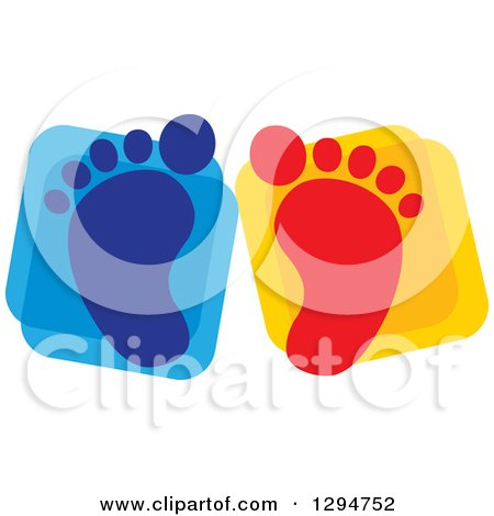 Clipart of Blue and Red Baby Footprints over Squares - Royalty Free Vector Illustration by ColorMagic