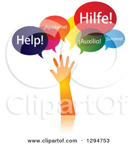 Clipart of a Gradient Orange Hand Reaching and Calling for Help in Different Languages - Royalty Free Vector Illustration by ColorMagic