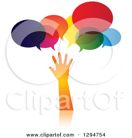 Clipart of a Gradient Orange Hand Reaching Under Speech Bubbles - Royalty Free Vector Illustration by ColorMagic