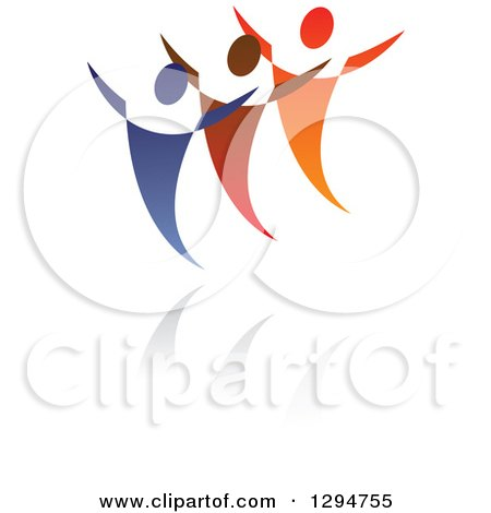 Clipart of a Trio of Blue Red and Orange People Dancing or Cheering over Shadows - Royalty Free Vector Illustration by ColorMagic