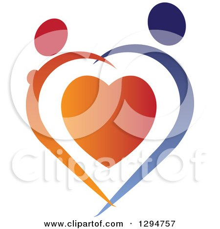 Clipart of an Abstract Red and Blue Couple Holding Hands and Dancing over a Heart - Royalty Free Vector Illustration by ColorMagic