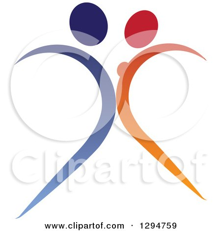 Clipart of a Blue and Orange Abstract Couple Dancing - Royalty Free Vector Illustration by ColorMagic