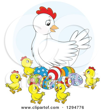 Clipart of a White Chicken Hen with Colorful Easter Eggs and Chicks - Royalty Free Vector Illustration by Alex Bannykh