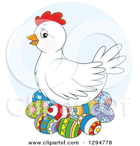 Clipart of a White Chicken Hen Nesting on Colorful Easter Eggs, over a Blue Circle - Royalty Free Vector Illustration by Alex Bannykh