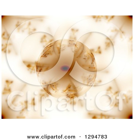Clipart of a Reflective Glass Globe with Brown Fractals - Royalty Free Illustration by oboy
