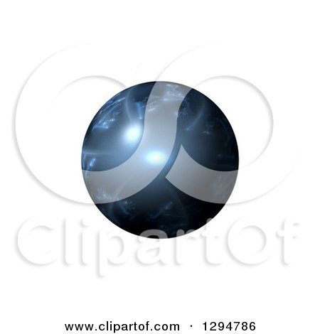 Clipart of a 3d Blue Fractal Sphere over White - Royalty Free Illustration by oboy