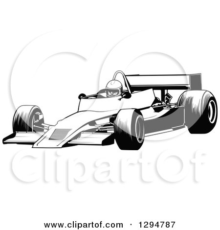 Clipart of a Black and White Race Car and Driver Facing Left 3 - Royalty Free Vector Illustration by dero