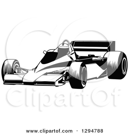 Clipart of a Black and White Race Car and Driver Facing Left 4 - Royalty Free Vector Illustration by dero