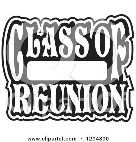 Clipart of a Black and White Class of Blank High School Reunion Design - Royalty Free Vector Illustration by Johnny Sajem