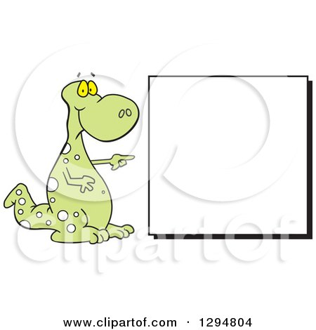 Clipart of a Cartoon Green Spotted Dinosaur Pointing to a Blank Sign - Royalty Free Vector Illustration by Johnny Sajem