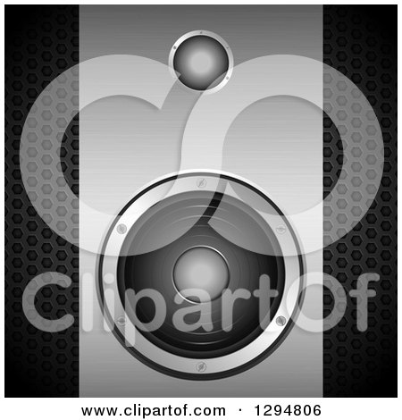 Clipart of a 3d Grayscale Brushed and Perforated Metal Music Speaker - Royalty Free Vector Illustration by elaineitalia
