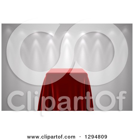 Clipart of a 3d Presentation Pedestal Table Covered with a Red Silk Cloth, with Spotlights on White - Royalty Free CGI Illustration by stockillustrations