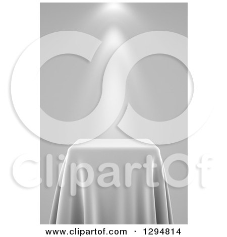 Clipart of a 3d Grayscale Presentation Pedestal Table Draped with a Silk Cloth, with Spotlights - Royalty Free CGI Illustration by stockillustrations