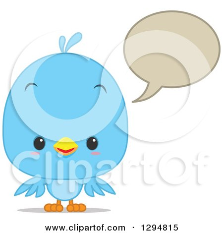 Clipart of a Cute Happy Blue Bird Talking with a Speech Balloon - Royalty Free Vector Illustration by Qiun