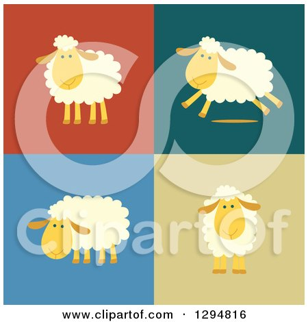 Clipart of Happy Sheep Standing and Running on Different Colored Backgrounds - Royalty Free Vector Illustration by Qiun