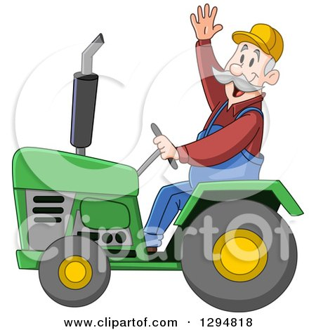 Clipart of a Happy Senior White Male Farmer Waving and Driving a Green Tractor - Royalty Free Vector Illustration by yayayoyo