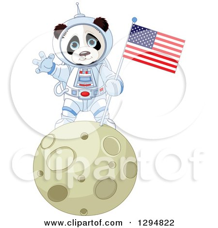 Clipart of a Cute Panda Astronaut Holding an American Flag and Waving on the Moon - Royalty Free Vector Illustration by Pushkin