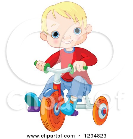 Clipart of a Happy Blond Haired, Blue Eyed White Boy Riding a Trike - Royalty Free Vector Illustration by Pushkin