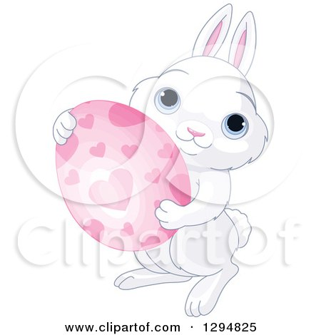 Clipart of a Cute White Bunny Holding a Pink Heart Patterned Easter Egg - Royalty Free Vector Illustration by Pushkin