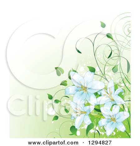 Clipart of a Border of Easter Lilies - Royalty Free Illustration ...