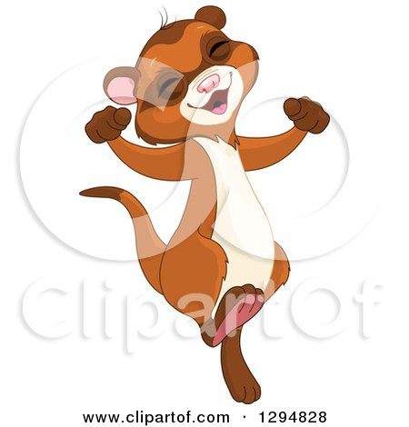 Clipart of a Cute Happy Ferret or Weasel Jumping and Cheering - Royalty Free Vector Illustration by Pushkin