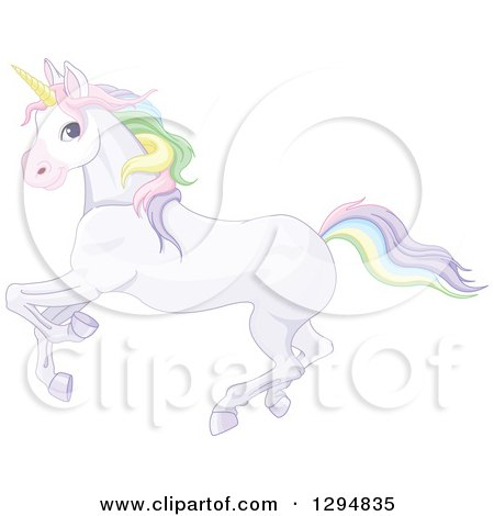 Clipart of a Running White Unicorn with Rainbow Colored Hair - Royalty Free Vector Illustration by Pushkin