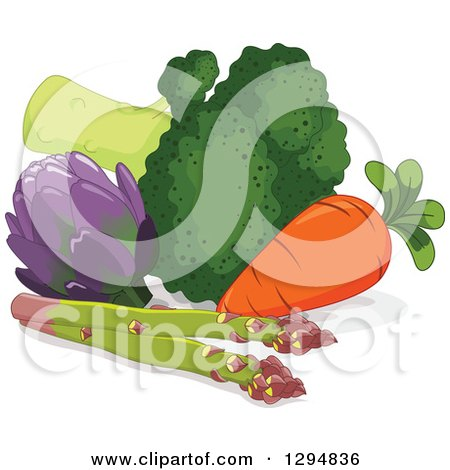 Clipart of a Still Life of Asparagus, Carrot, Broccoli and Artichoke - Royalty Free Vector Illustration by Pushkin