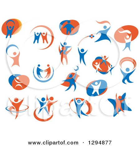 Clipart of White Blue and Orange People - Royalty Free Vector Illustration by Vector Tradition SM