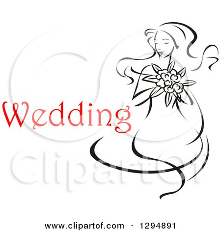 Clipart of a Sketched Black and White Bride Holding a Bouquet of Flowers with Red Text 5 - Royalty Free Vector Illustration by Vector Tradition SM