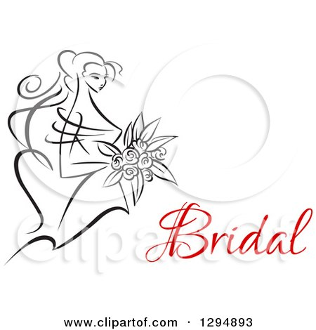 Clipart of a Sketched Black and White Bride Holding a Bouquet of Flowers with Red Text 3 - Royalty Free Vector Illustration by Vector Tradition SM