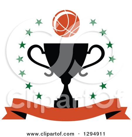 Clipart of a Basketball over a Black Trophy in a Circle of Stars with a Blank Banner - Royalty Free Vector Illustration by Vector Tradition SM