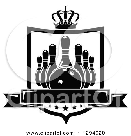 Clipart of a Black and White Bowling Ball and Pins in a Shield with a Crown, Stars and Blank Banner - Royalty Free Vector Illustration by Vector Tradition SM