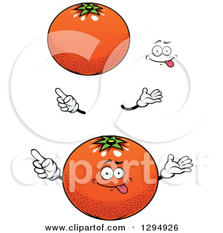Clipart of a Cartoon Face, Hands and Navel Oranges - Royalty Free Vector Illustration by Vector Tradition SM