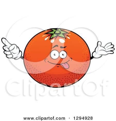 Clipart of a Cartoon Goofy Navel Orange Character - Royalty Free Vector Illustration by Vector Tradition SM