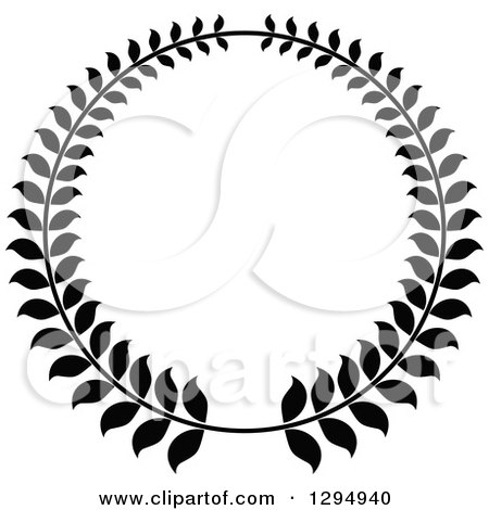 Clipart of a Black and White Laurel Wreath - Royalty Free Vector Illustration by Vector Tradition SM
