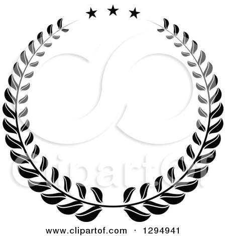 Clipart of a Black and White Laurel Wreath with Stars - Royalty Free Vector Illustration by Vector Tradition SM