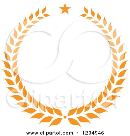 Clipart of an Orange Laurel Wreath with a Star - Royalty Free Vector Illustration by Vector Tradition SM