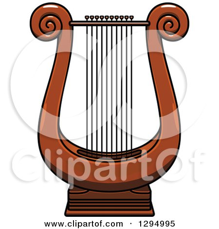 Clipart of a Cartoon Lyre Instrument - Royalty Free Vector Illustration by Vector Tradition SM